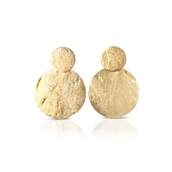 Orecchini Kemira pendenti a disco dorato effetto satinato