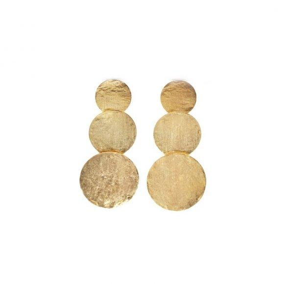 Orecchini Kemira pendenti con dischi dorati effetto satinato