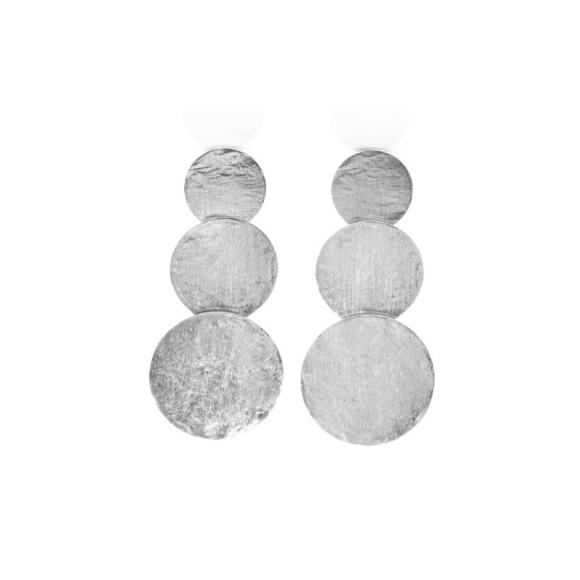 Orecchini Kemira pendenti con dischi argentati effetto satinato