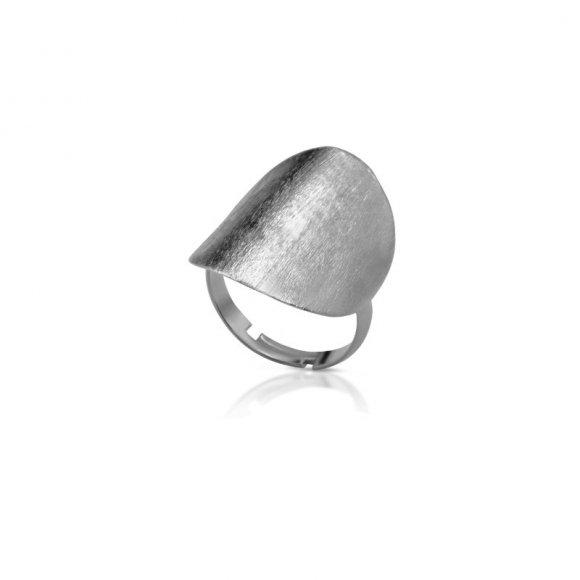 Anello Kemira regolabile con disco argentato effetto satinato