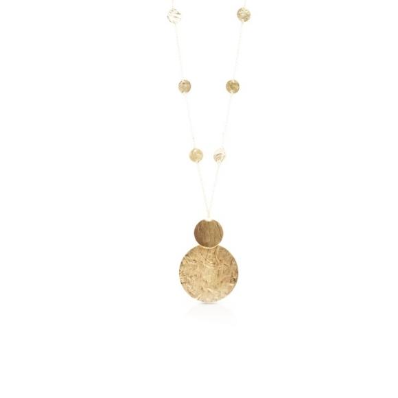 Collana Kemira lunga con dischi dorati effetto satinato