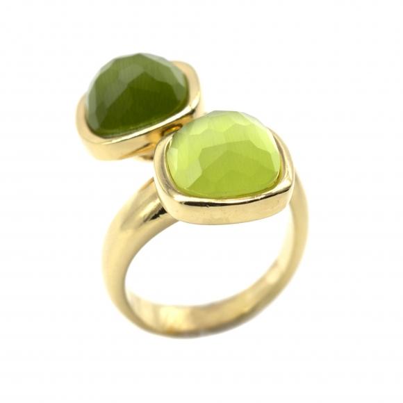 Anello Labriola contrariè con doppia pietra sfaccettata verde