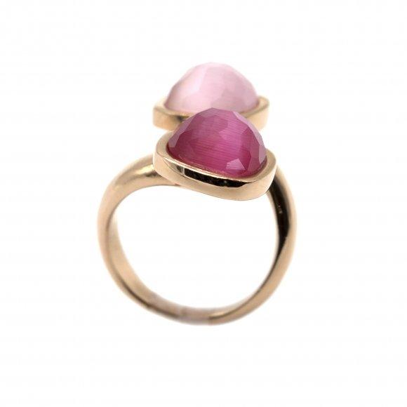 Anello Labriola contrariè con doppia pietra sfaccettata rosa