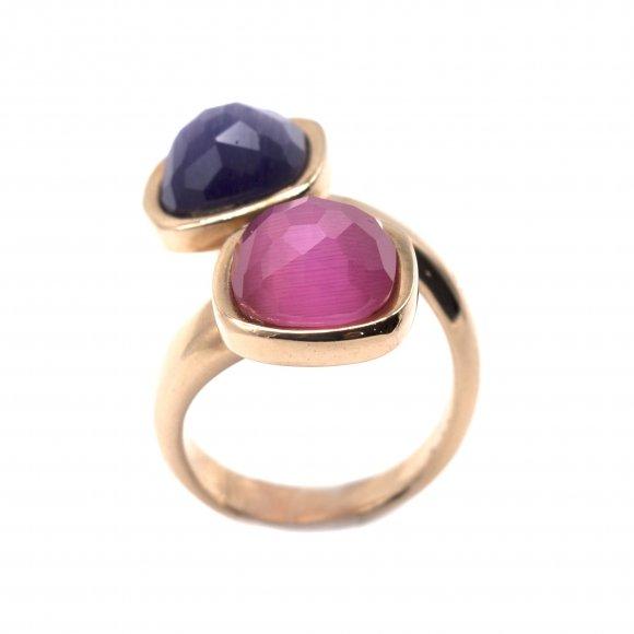 Anello Labriola contrariè con doppia pietra sfaccettata viola e rosa