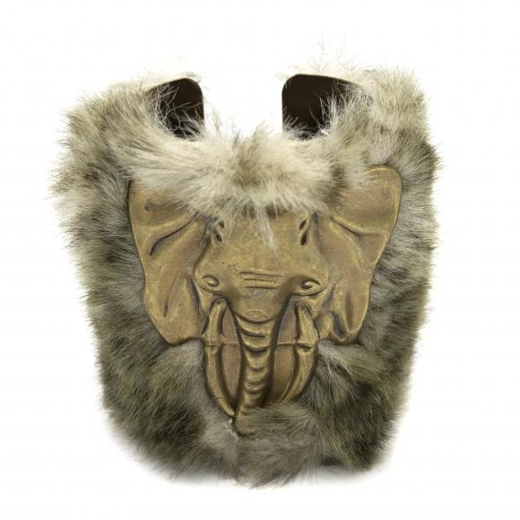 Bracciale Re Carlo Accessori Moda rigido con elefante e pelliccia