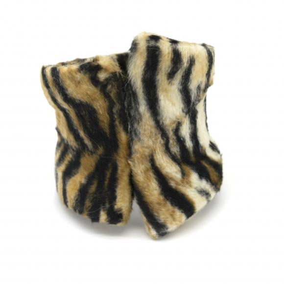 Bracciale Re Carlo Accessori Moda rigido con pelliccia tigrata