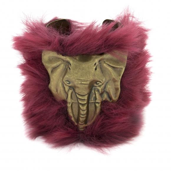 Bracciale Re Carlo Accessori Moda rigido con elefante e pelliccia rossa