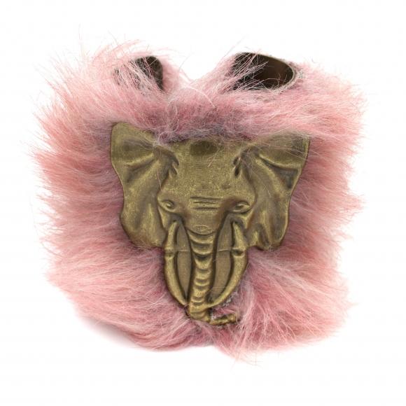 Bracciale Re Carlo Accessori Moda rigido con elefante e pelliccia rosa