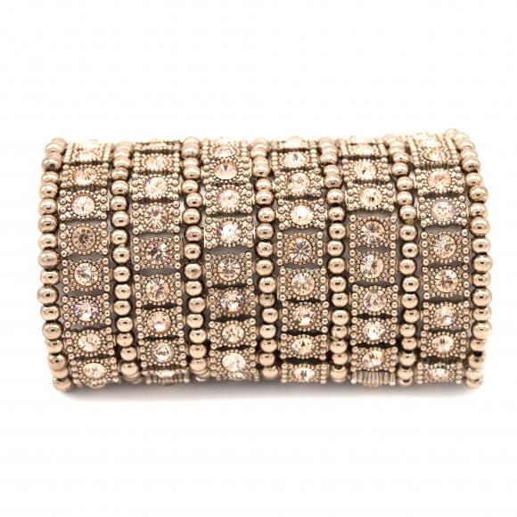Bracciale Re Carlo Accessori Moda elastico con zirconi rosati