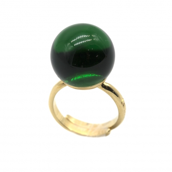 Anello Labriola in metallo dorato con sfera verde peridoto