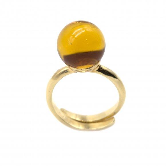 Anello Labriola dorato con pietra giallo citrino