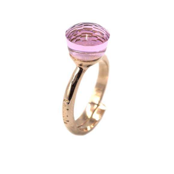 Anello Labriola in metallo rosee con pietra sfaccettata quarzo rosa