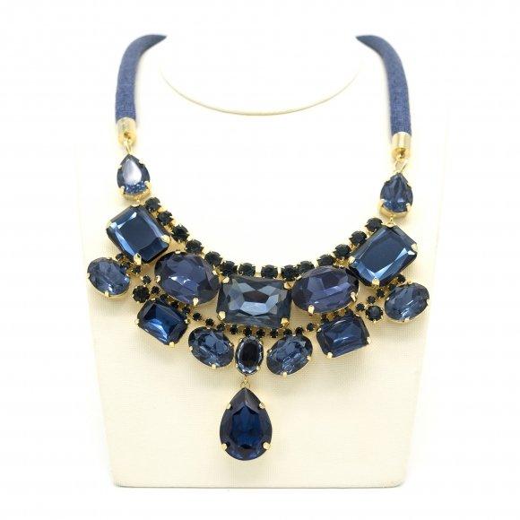 Collana Re Carlo Accessori Moda in tessuto con pietre blu