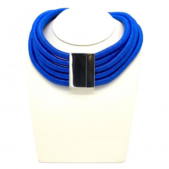 Collana Re Carlo Accessori Moda in tessuto a più fili blu