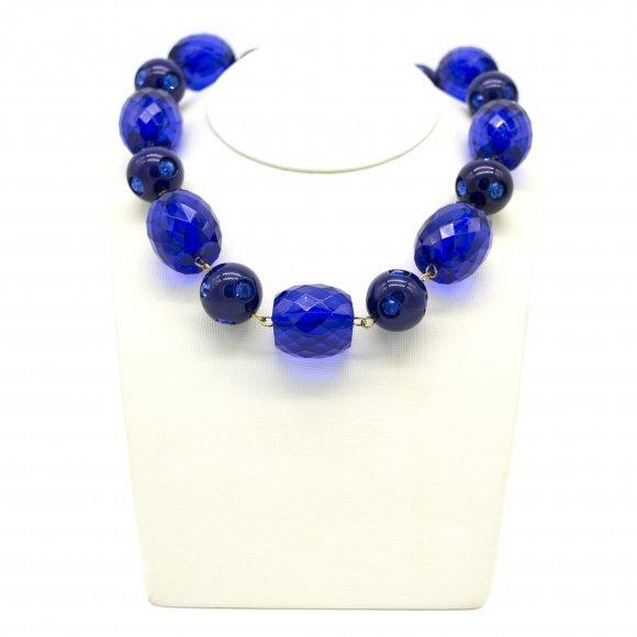 Collana Re Carlo Accessori Moda a girocollo con pietre blu