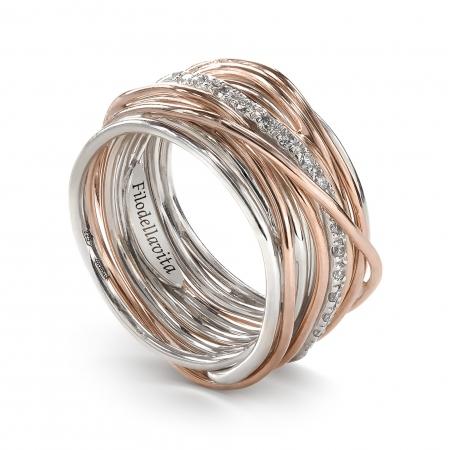 Anello Filo della Vita in argento e oro rosa 13 fili con diamanti bianchi