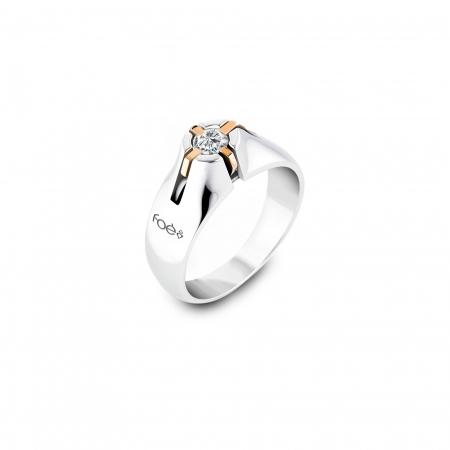 Anello Uomo Foè in oro bianco con diamante bianco
