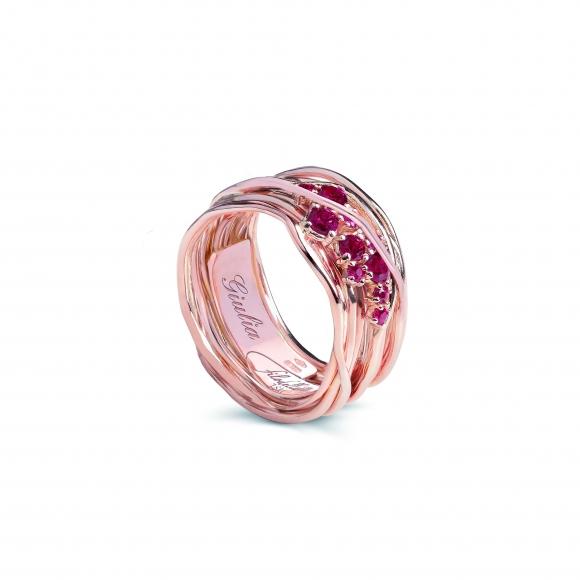 Anello Filo della Vita in oro rosa 10 fili con rubini