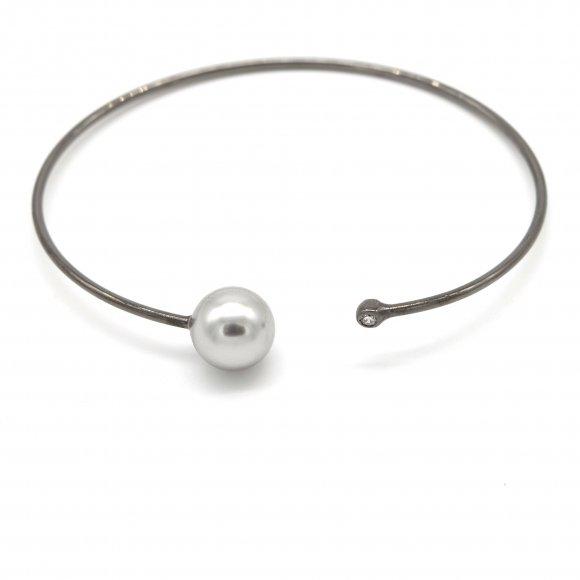 Bracciale Eclat in argento rigido con perla grigia e zirconi