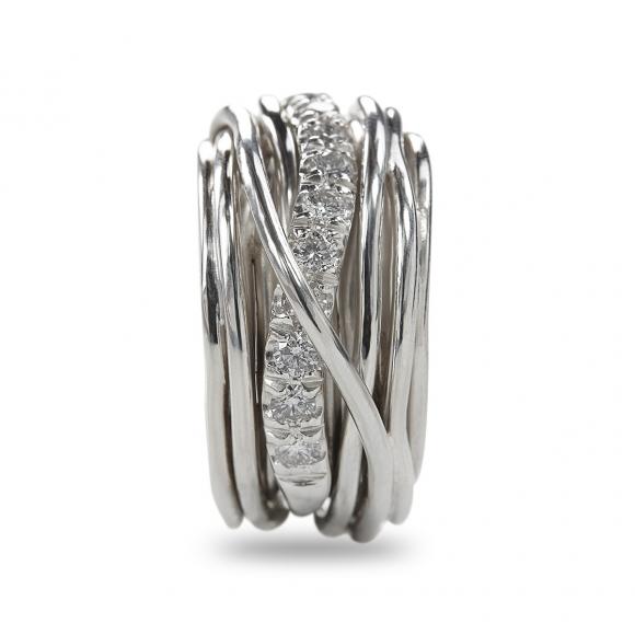 Anello Filo della Vita 13 fili in argento 950 con diamanti bianchi 1.00ct