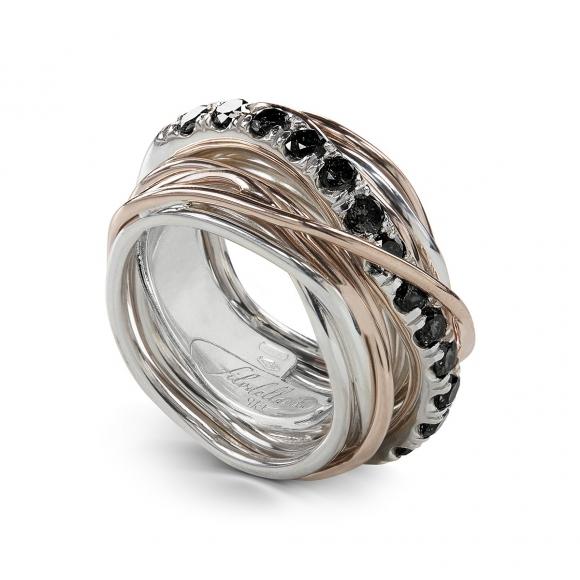 Anello filo della Vita 13 fili in argento e oro rosa con diamanti neri 1.00ct