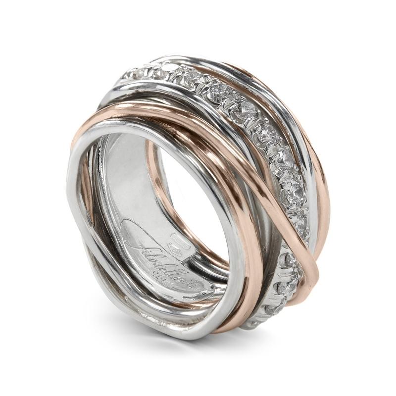alta qualità Sconto speciale vendita uk Anello Filo della Vita in argento 950 e oro rosa con diamanti bianchi 1.00ct