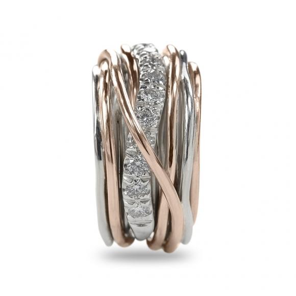 Anello Filo della Vita in argento 950 e oro rosa con diamanti bianchi 1.00ct