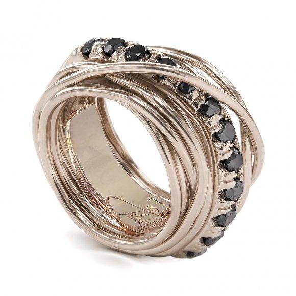 Anello Filo della Vita in oro rosa 13 fili con diamanti neri 1.00ct