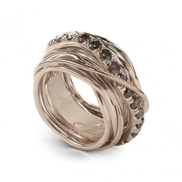 Anello Filo della Vita 13 fili in oro rosa con diamanti brown 1.00ct