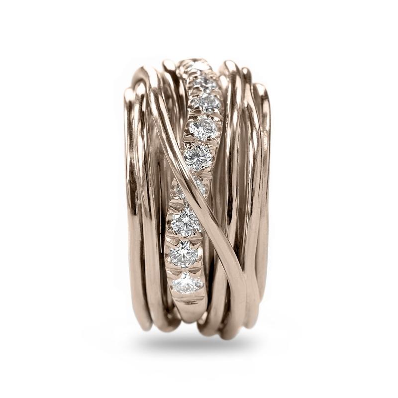 Anello Filo della Vita 13 fili in oro rosa e diamanti bianchi 1.00ct
