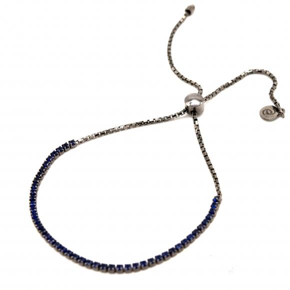 Bracciale Eclat tennis in argento brunito con zirconi blu