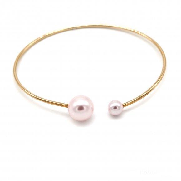 Bracciale Eclat rigido in argento dorato con perle rosate