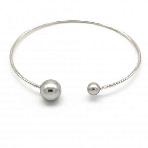 Bracciale Eclat rigido in argento  con perle grigie