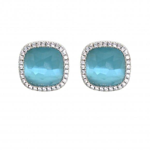 Orecchini Labriola con pietra sfaccettata azzurra con zirconi