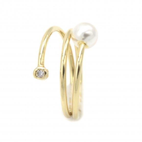 Anello Eclat in argento dorato con perla e zirconi