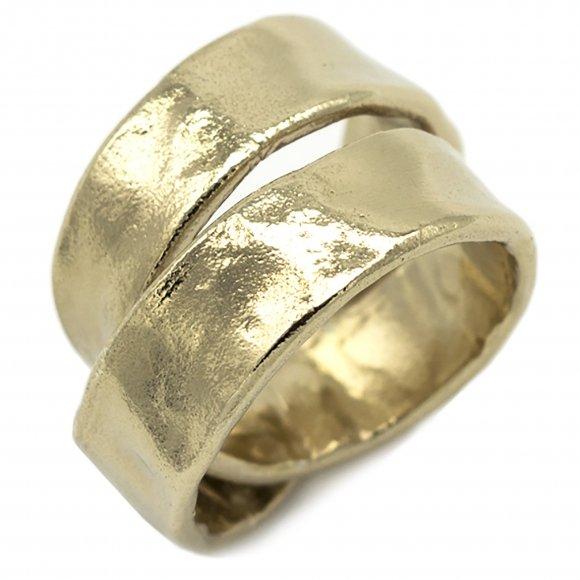 Anello Eclat in argento dorato a spirale effetto martellato