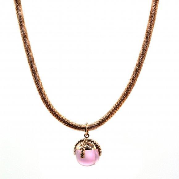 Collana Labriola rosee a molla con pendente quarzo rosa