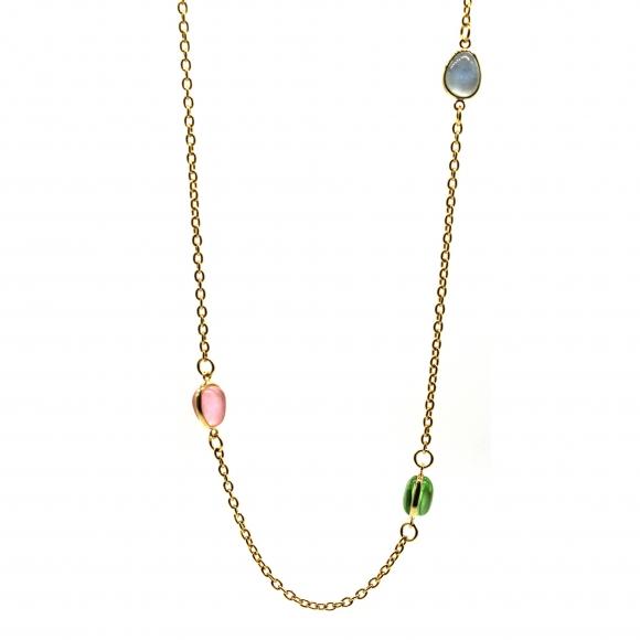 Collana Labriola con pietre rosa acquamarina e tormalina