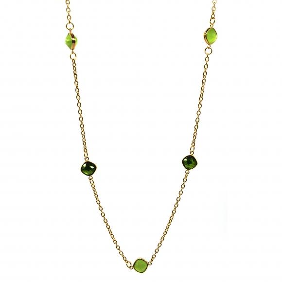 Collana Labriola con doppie pietre sfaccettate verde