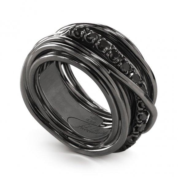 Anello Filo della Vita Rock 13 fili in argento brunito 950 con diamanti neri