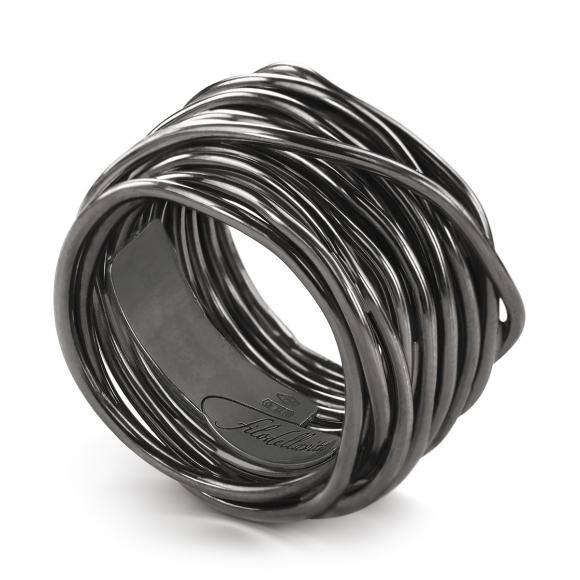 Anello Filo della Vita rock 22 fili in argento brunito 950