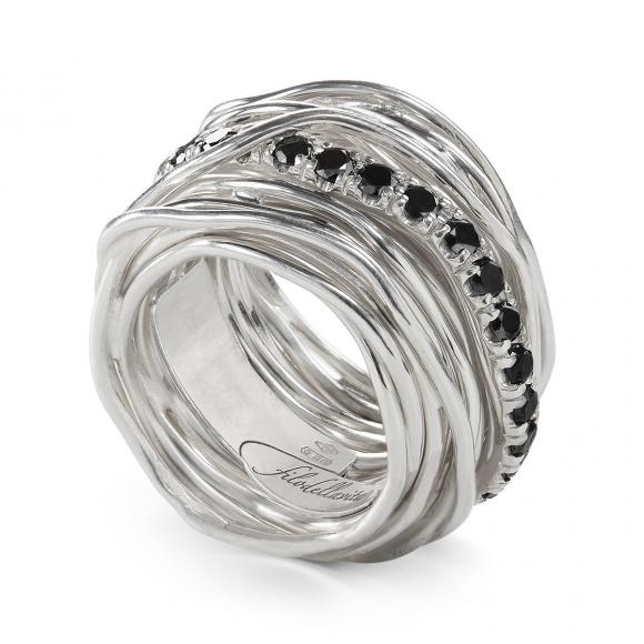Anello Filo della Vita rock 22 fili in argento 950 con diamanti neri