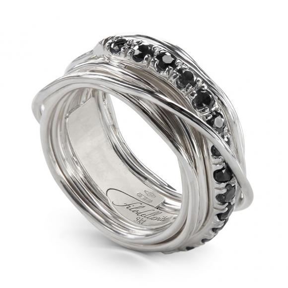 Anello Filo della Vita Prezioso 13 fili in argento 950 con diamanti neri