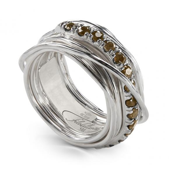 Anello Filo della VIta prezioso 13 fili in argento 950 con diamanti brown