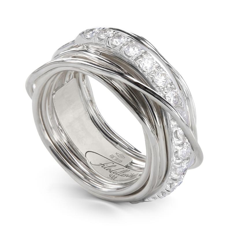 Anello Filo della Vita prezioso 13 fili in argento 950 con diamanti bianchi
