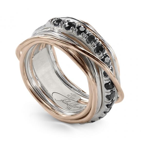 Anello Filo della Vita prezioso 13 fili in argento e oro rosa con diamanti neri
