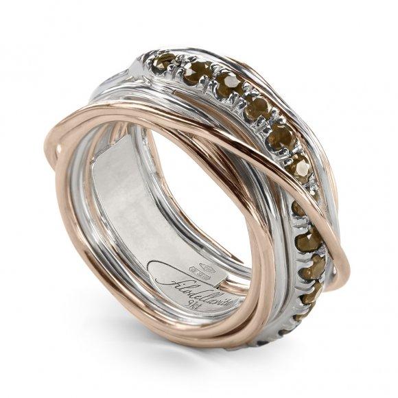 Anello Filo della Vita prezioso 13 fili in argento e oro rosa con diamanti brown