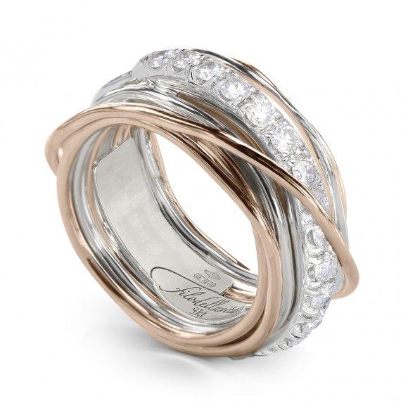 Anello Filo della Vita 13 fili in argento e oro con diamanti bianchi