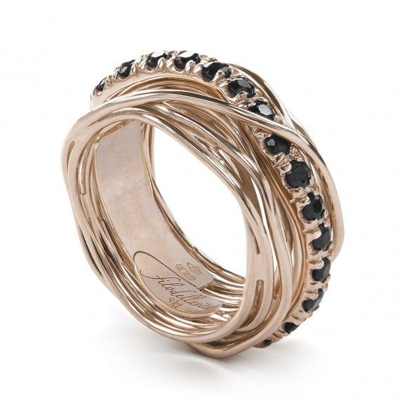 Anello Filo della Vita prezioso 13 fili in oro rosa con diamanti neri