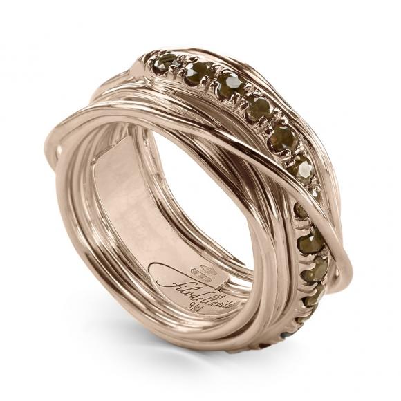 Anello Filo della Vita prezioso 13 fili in oro rosa con diamanti brown